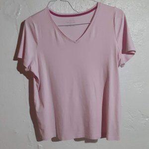Talbots Short Sleeve V-Neck T-Shirt Light Pink